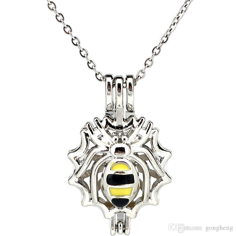 Esmalte de Plata Spider Aceite Esencial Difusor Medallón Perlas de Aromaterapia de Perlas Oyster Jaula Collar Colgante-Boutique regalo