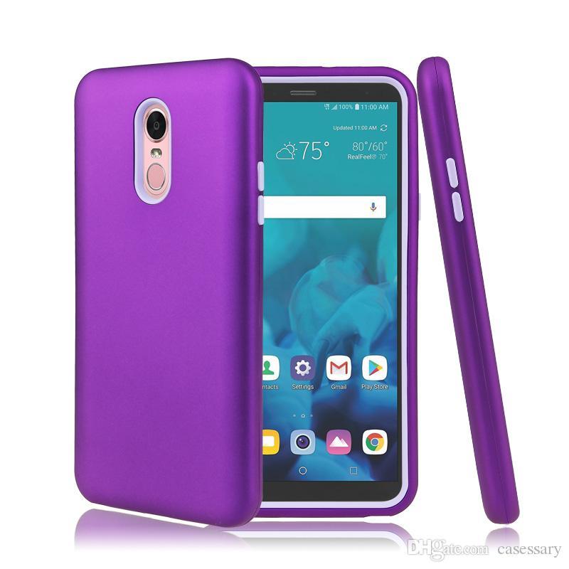 Acabamento mate 3 em 1 casos de telefone defensor híbrido para iphone xs xs max lg stylo 4 samsung galaxy note 9 j3 j7