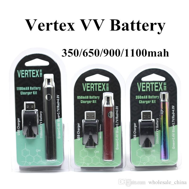 Vertex LO VV Preheat Battery Charger Kit 350mah 650mah 900mah 1100mah  Preheat Battery E Cigarettes Vape Pen 510 Thread G2 Vape Cartridges  Variable