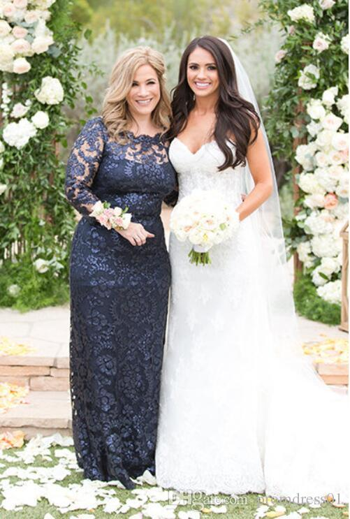 Hot Sell Navy Blue Mother of the Bride Dresses Sheath Long Sleeves for Wedding Party In Stock with Lace Appliques Floor Length Plus Size