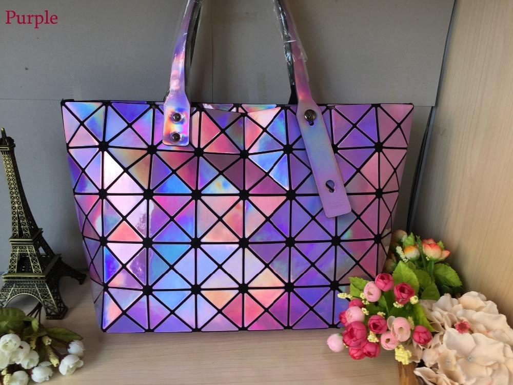 Kisumater Hologramm Tasche Wome Diamond Geometrie Lattice Tasche Tote Damen Handtaschen Falten Laser Silber Super Qualität D18102303