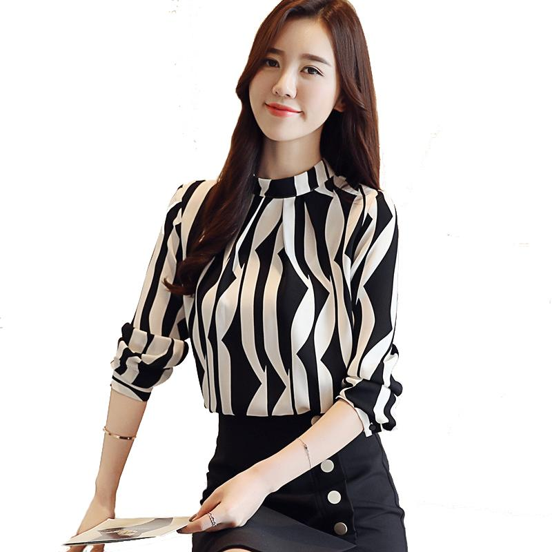 34421c238 Womens Tops and Blouses 2018 Autumn New Fashion OL Printing Stand Collar  Women Long Sleeved Slim Shirt Ladies Office Shirts Woman Clothing