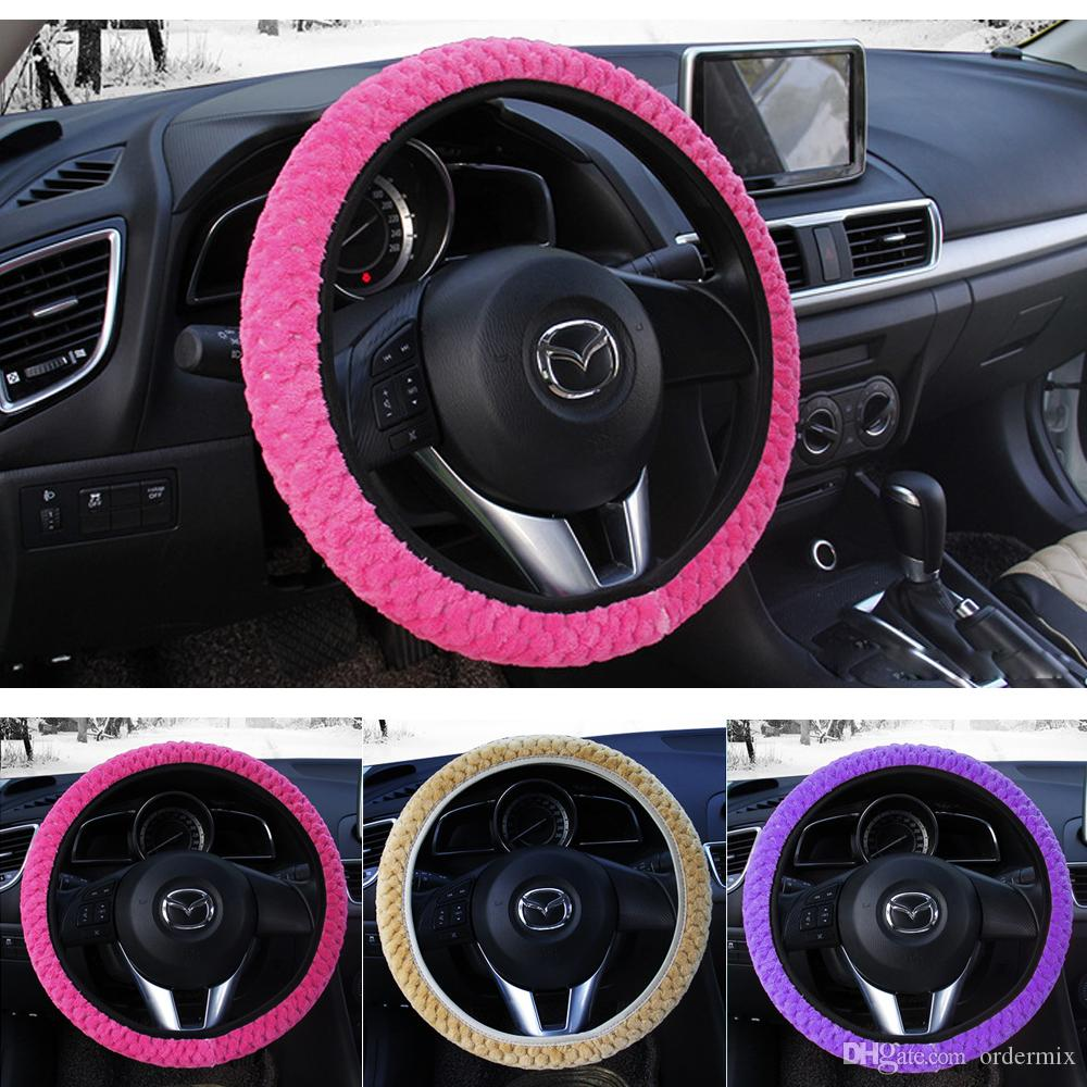 Winter Car Kierownica Pokrywa Ciepła Auto Decoration Steer Protection Pearl Velvet Car-Styling Universal Soft Plush Steer Coverers