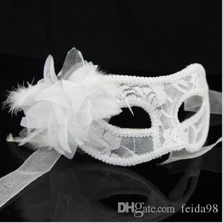 2019 New Mask Halloween Costume Party lace Mask Christmas Carnival Masquerade Dance Venice Mask Side Feather Flower 3 Colors L772