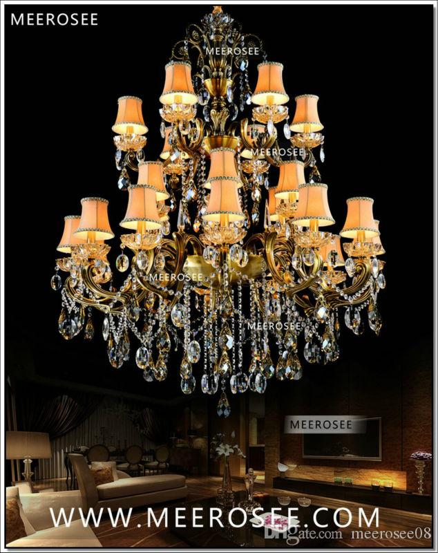 Large 3 Tiers 24 Arms Crystal Chandelier Light Fixture Antique Brass Luxurious Crystal Lustre Lamp MD8504-L24 D1150mm H1400mm