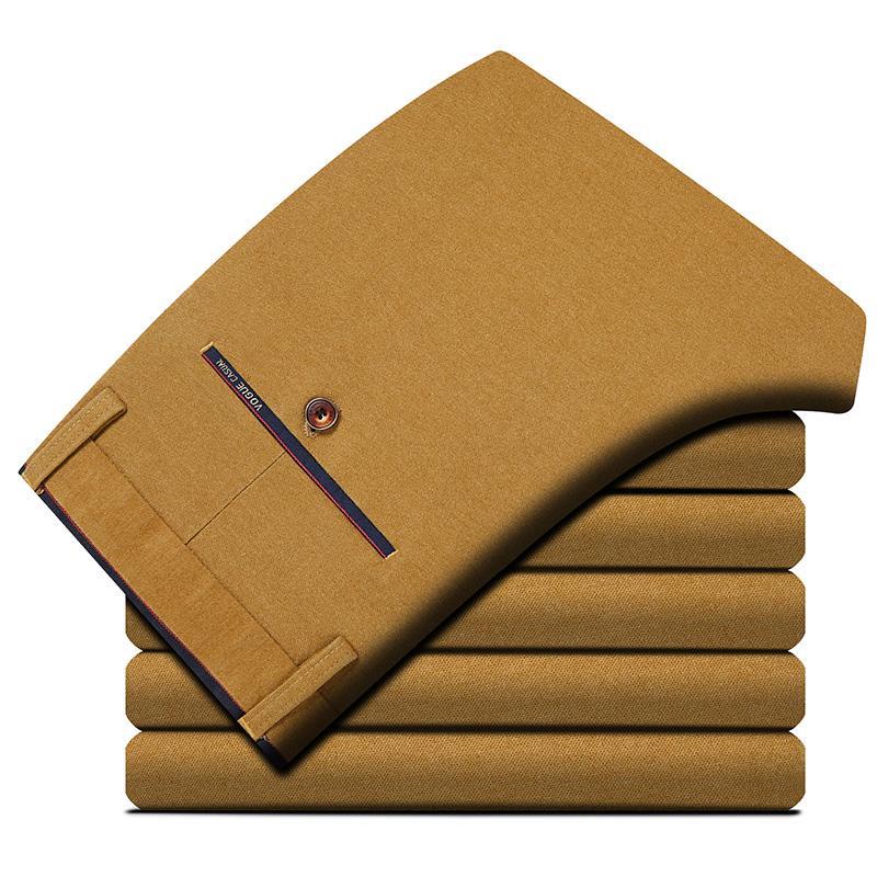 Moda Masculina Marca Terno Calças Primavera Outono Masculino Casual Quente Meados Cintura Sólida Reta Trecho Calças Baggy Streetwear de Algodão