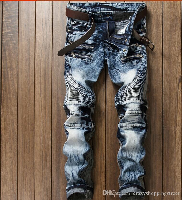 Pantaloni da motociclista di nuovo modo Jeans da uomo Pantaloni da motociclista a pieghe piegate Fit Brand Designer Multi Zippers Pantaloni da moto dritti