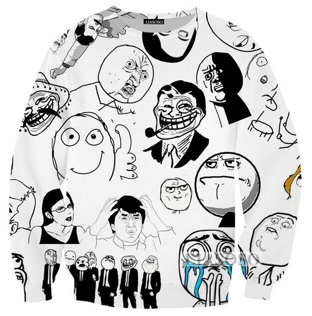 2020 2018 Fashion Womens Men Meme Troll Face Funny 3d Print Casual Sweatshirts Jumper Fashion Clothing Tops002 From Fashion5dstore 18 7 Dhgate Com