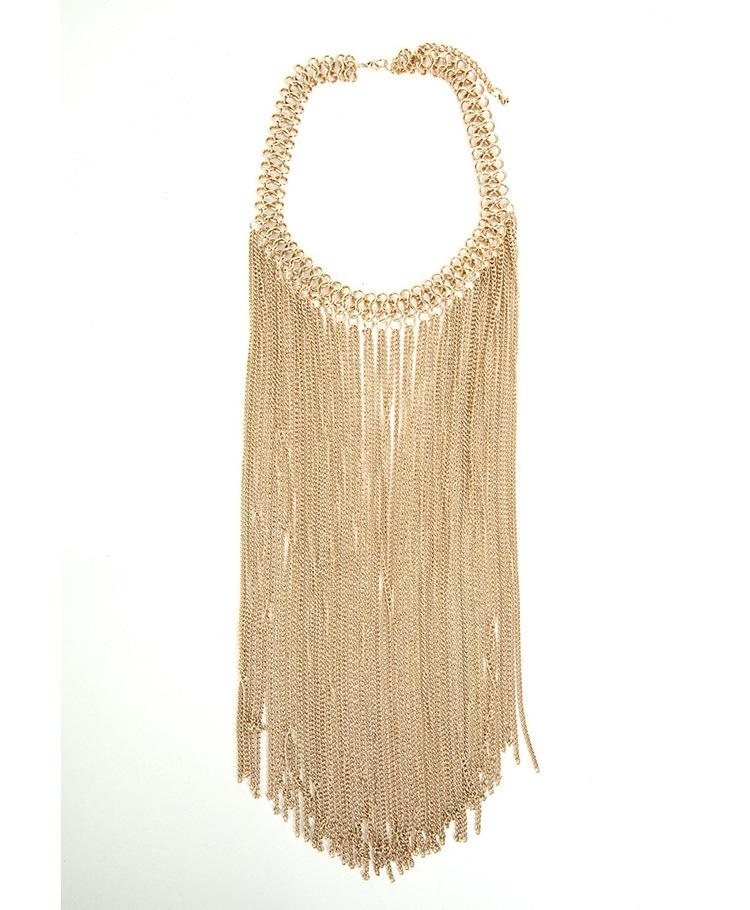 2 colors Europe and the United States fashion necklace long tassel alloy exaggerated retro necklace wholesale