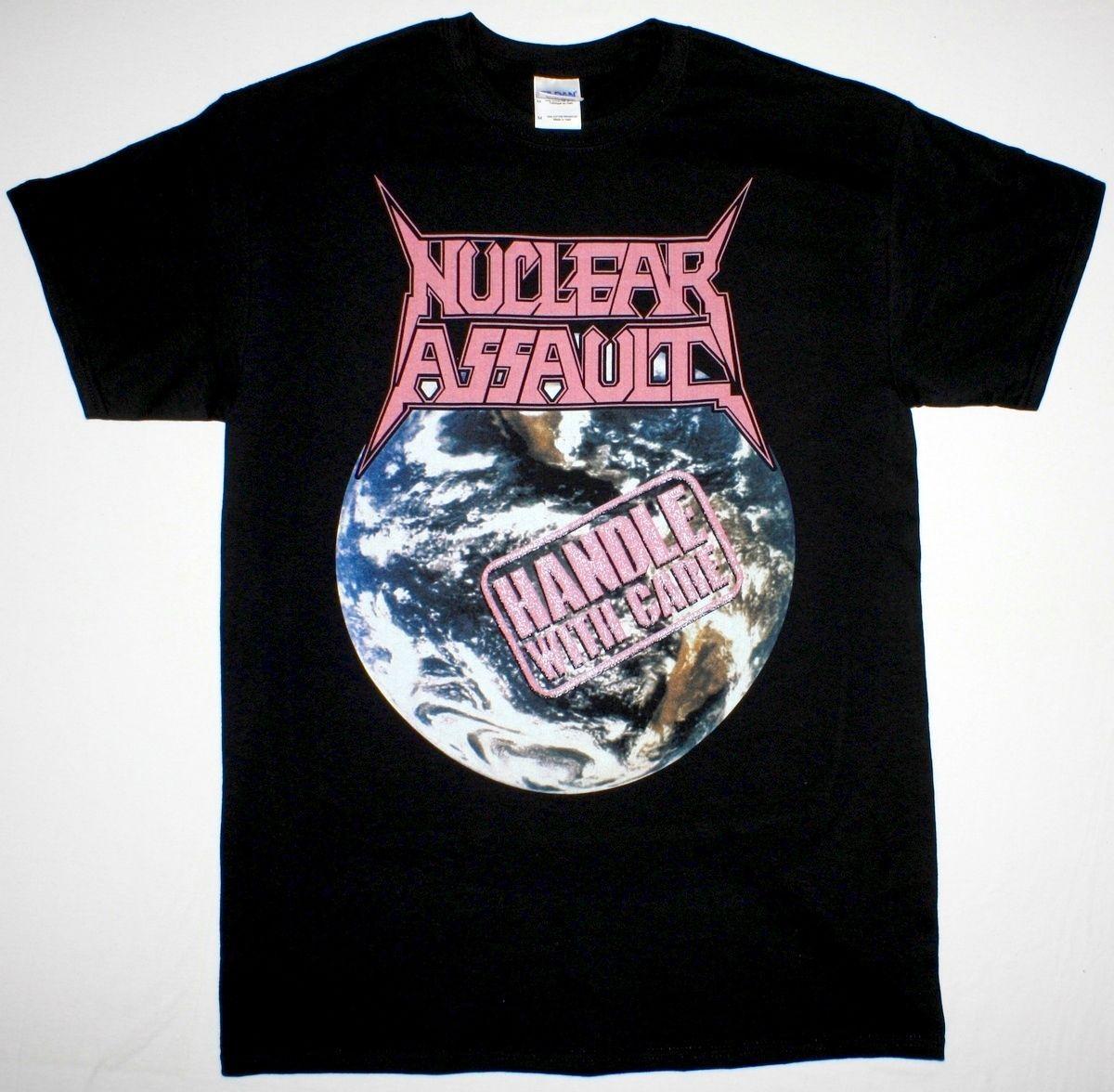Handle Nuclear Assault com cuidado S.o.d. Anthrax Trash metal preto novo T-shirt dos homens partes superiores legal O Neck T Shirt Top Tee