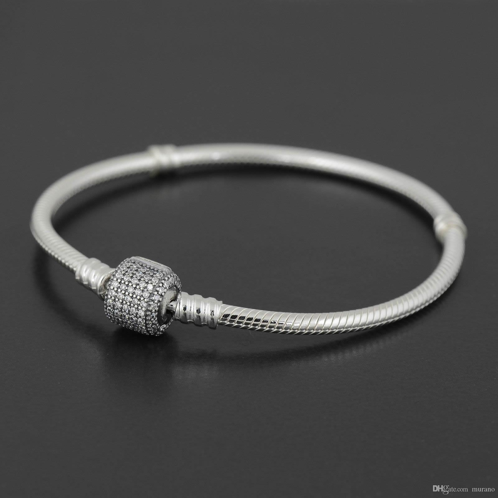 Autêntica prata esterlina 925 pulseira com logotipo gravado para Charms Pandora europeus e Bead 10pcs / lot Você pode dimensionar Mixed Free navio