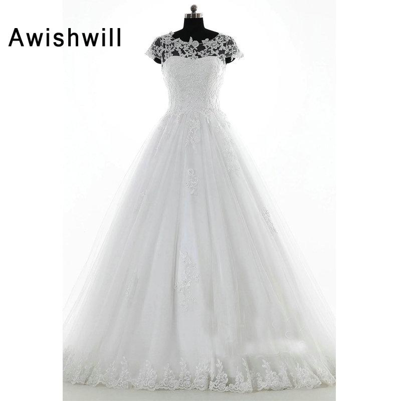 Vestido De Novias 2018 Real Fotos Tribunal Trem de Renda Apliques de Tule Mangas Curtas Vestidos de Casamento para a Noiva Do Casamento Vestidos