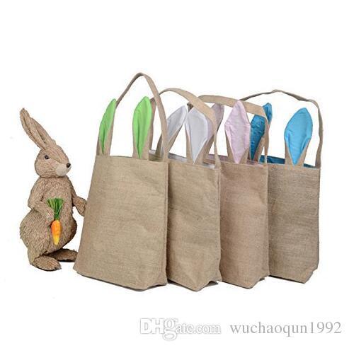 Panier de Pâques toile de jute avec oreilles de lapin 12 couleurs panier oreilles de lapin sac de cadeau de Pâques mignon oreilles de lapin mettre des oeufs de Pâques