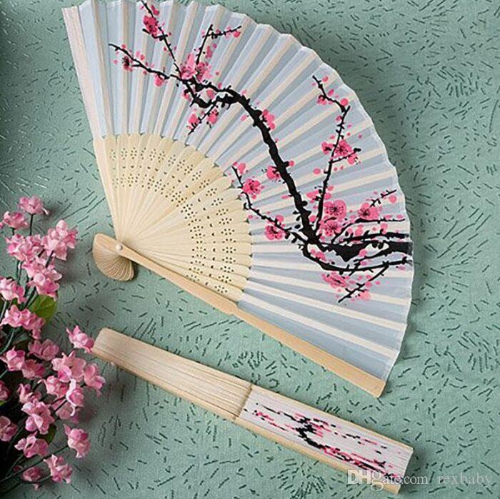 Único Chino Abanico Abanico Ventilador Flor de Cerezo Seda de Bambú Favores de Boda Decoración de Traje 21x38 cm
