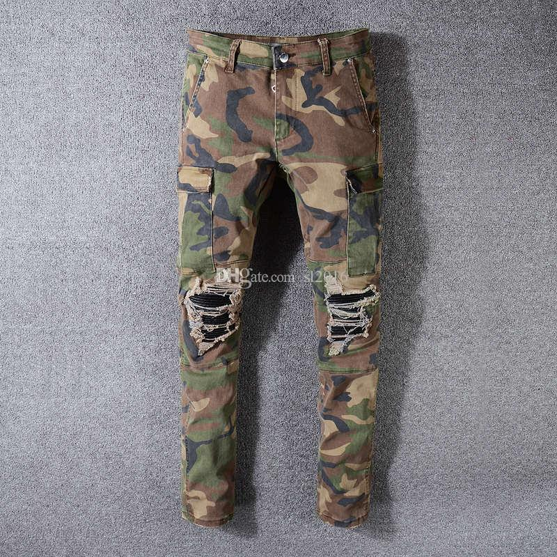 Marque Designer Multi-Pocket Casual Camouflage Pantalon Hommes Militaire Cargo Pantalon Lavé Trouers Pantalon Lâche Pour Hommes Nouvelle Arrivée Biker Jeans