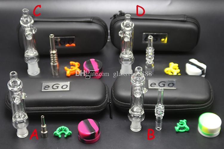 Mini NC Kit mit Titan-Quarz-Nagel-Dab Rig Dish 10mm 14mm Glaspfeife Glaswasserpfeife Klar Nector Collector EGO-Tasche