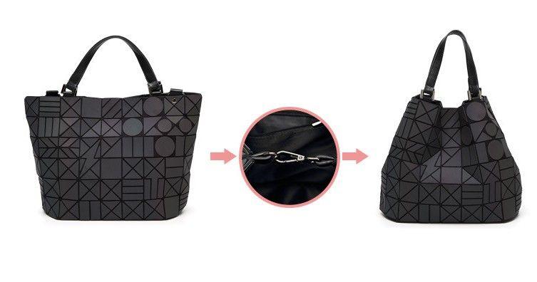 5e1654c6e0a2 Famous Brands Women Shoulder Bag Geometry Sequins Mirror Laser Plain  Folding Bags Luminous Handbags Casual Tote Female Handbag Mens Leather Bags  ...