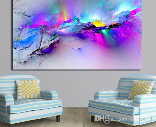 Immagini parete per Soggiorno pittura a olio astratta nuvole colorate su tela Home Decor
