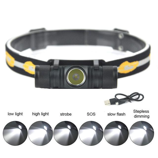 D10 XM-L2 LED Headlamp USB Charging Interface Cycling Headlight 4-Mode Dimming Head Torch Camping Fishing Flashlight