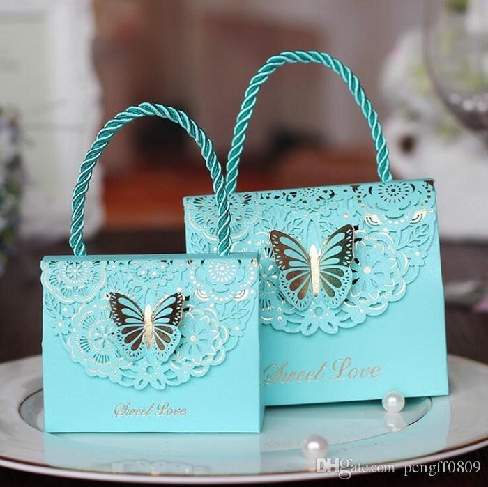 Şeker kutusu çantası Çikolata Kağıt Hediye Paketi Doğum Günü Düğün Parti Favor Dekor Malzemeleri için DIY Bebek Duş Çanta Kelebek Tasarım