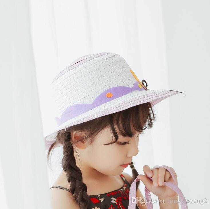 Acheter Nice Enfants Chapeaux De Paille Avec Dessin Animé Bowknot Bébé Créatif Chapeaux Filles Seau Chapeau Garçons Chapeau Sorcière Chapeau De Plage