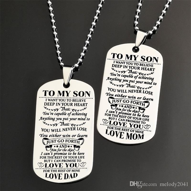 Edelstahl AMY Anhänger Halsketten zu meinem Sohn meiner Tochter ID-Kettenhalskette Modeschmuck-Geschenk