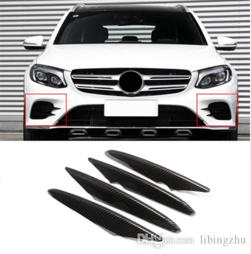 Fibre De Carbone Style Avant Brouillard Lampe Cadre Décoration Couverture Bandes De Garniture 4 pcs Pour Mercedes Benz GLC X253 2017 ABS Styling De Voiture
