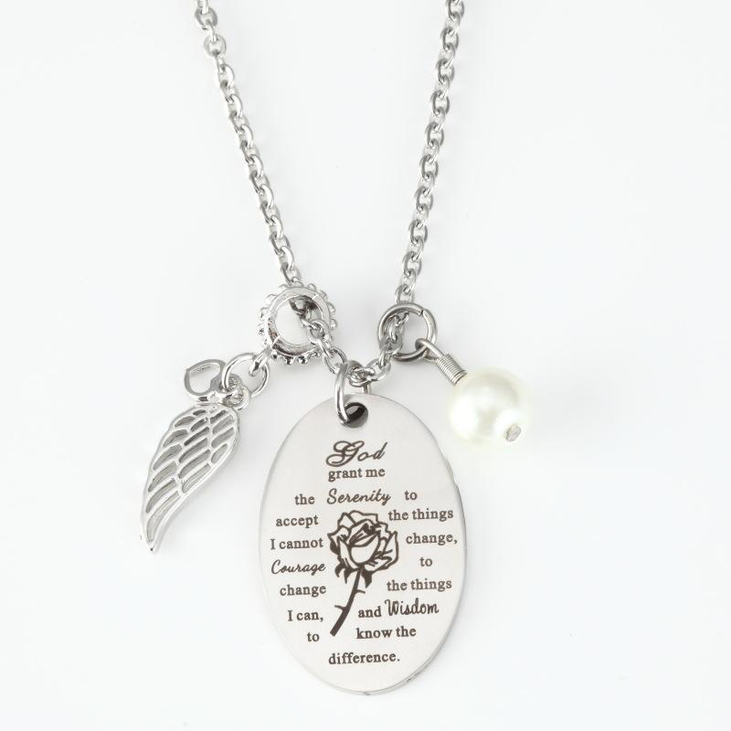 God grant Me The Serenity keychain vintage Prayer Bible Art Courage Wisdom Square Letter Necklace men faith jewelry