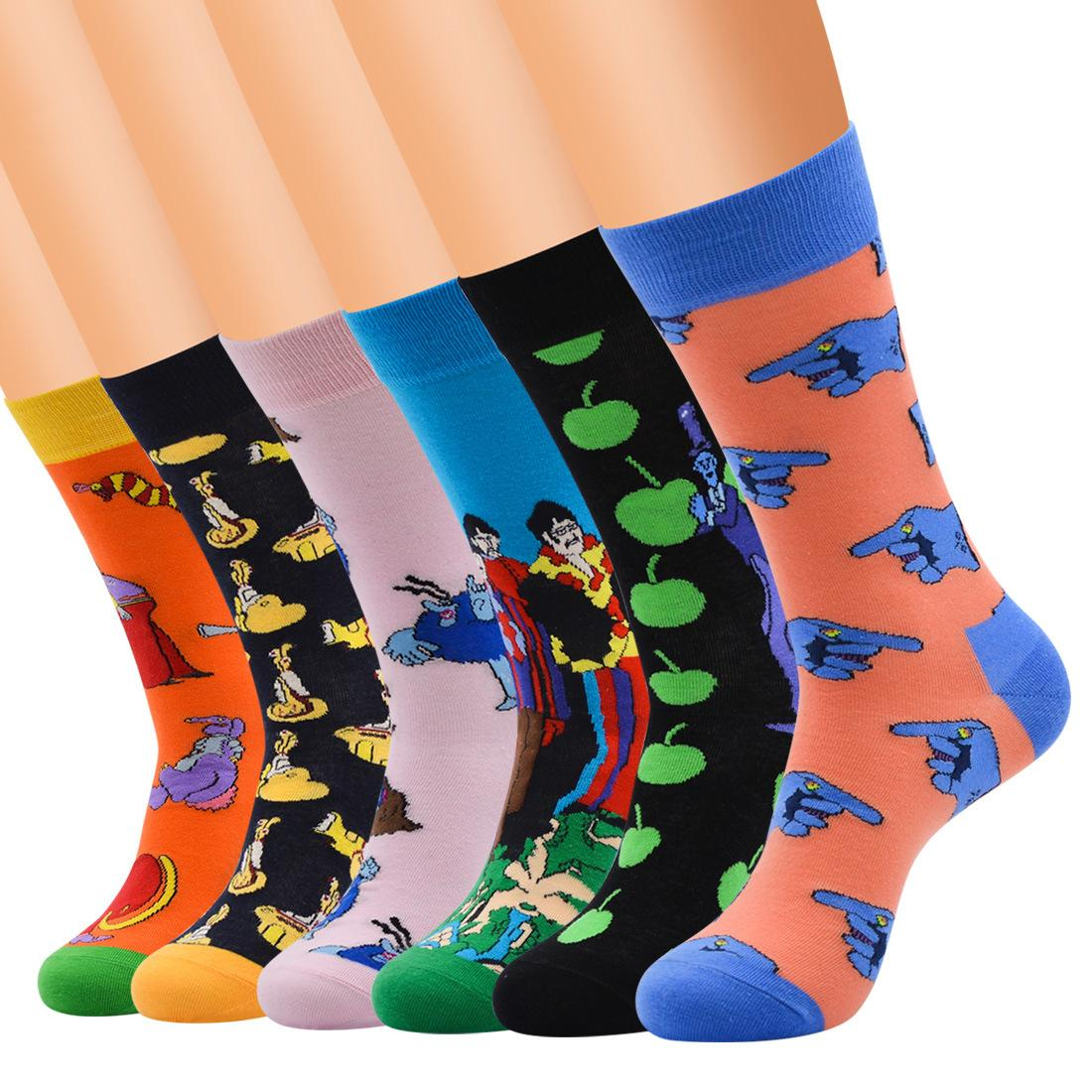 6pairs Men Fun & Funky Colorful Fashion Novelty Crazy Fancy Casual Combed Cotton Colorful Patterned Dresscrew Socks