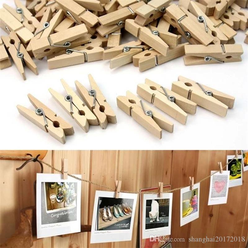 100 adet / takım DIY 3.5 cm ahşap klip fotoğraf duvar ahşap günlükleri renk ahşap klip DIY Kırtasiye ofis malzemeleri için