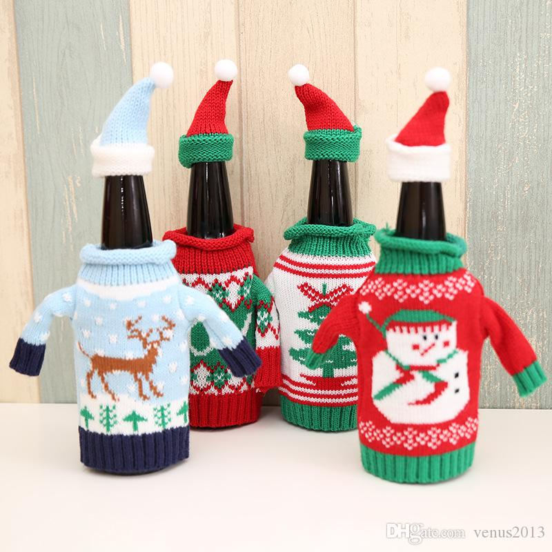 High Quality Christmas Wine Bottle Covers Champagne Wine Bottle Cooler Moose Pattern Sweater Cute Novelty Christmas Party Decorations