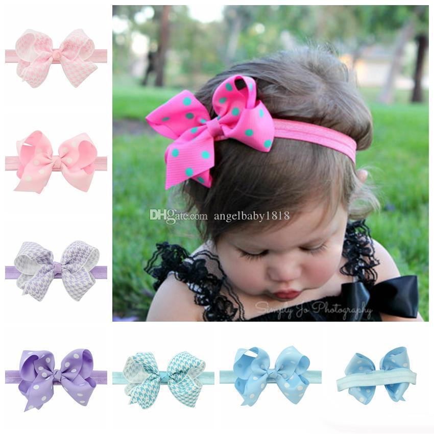 Capelli fascia elastica dei capelli della neonata archi Neonato Banda Bambini svegli Bambini Accessori nastro fascia capa con Dot
