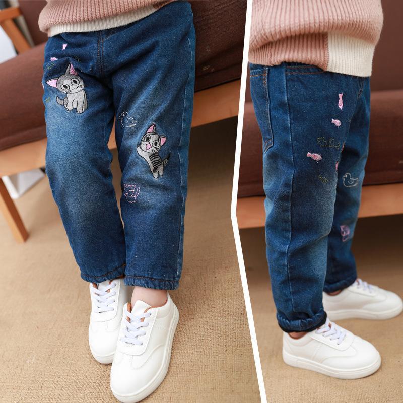 Children denim Pants girls plus velvet jeans baby kids cartoon leggings winter children's clothes girl thickened loose trousers