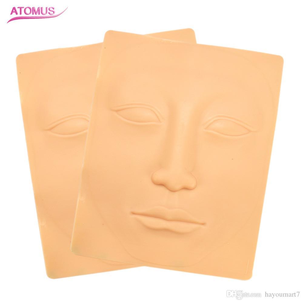 2Pcs Whole Face 3D Practice Skin Tattoo sopracciglio e labbro permanente trucco pelle tatuaggio pelle falsa per l'ago macchina di alimentazione