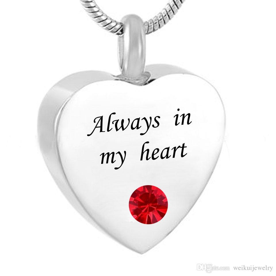 Personalisierte Herz immer in meinem Herzen Feuerbestattung Urn Halskette Andenken mit Birthstone Edelstahl Custom Made mit jedem Namen