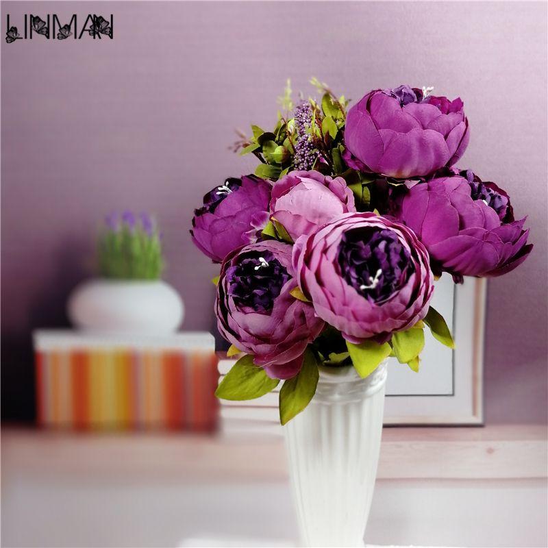 새로운 아름다운 보라색 핑크 웨딩 부케 수제 신부 꽃 인공 수국 모란 나비 브로치 부케