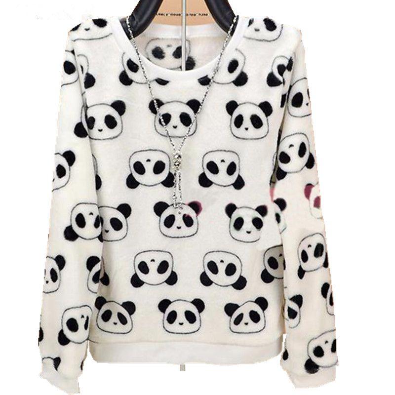 Camisolas femininas 2021 Moda Harajuku Bonito Urso de Peluche Panda Mulheres Camisola de Alta Qualidade Manga Longa Flanela Pullovers Warm Tops tamanho grande