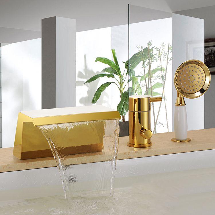 Frei Schiff Gold Pvd 3 Stück weit verbreitet Wasserfall Bad Badewanne Roman Tub Dusche Wasserhahn