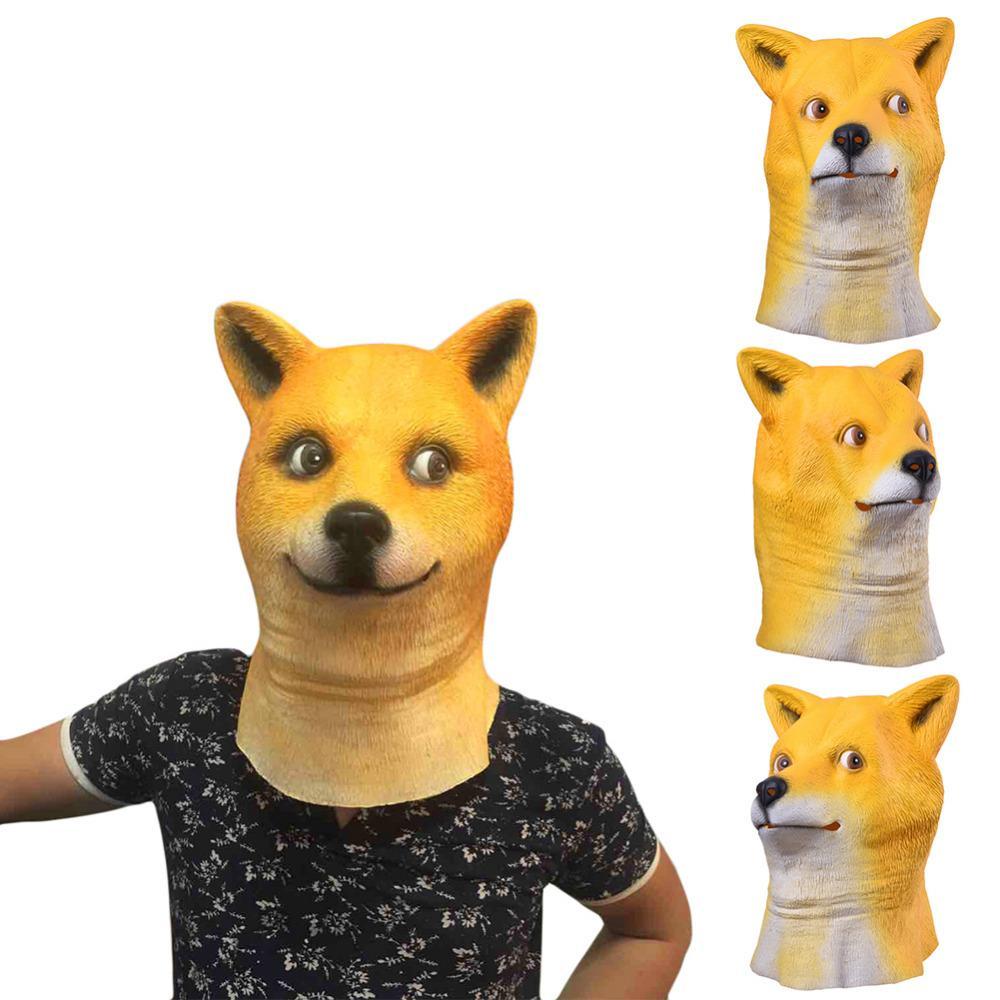 Venta al por mayor encantadora cabeza de perro máscara de látex cara completa máscara para adultos respirable de Halloween mascarada disfraces cabeza animal máscara Cosplay