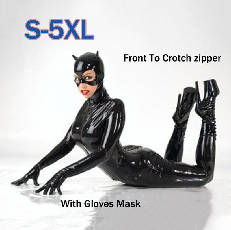 Femmes Black Faux Leather Catsuit Costume Sexy Catwoman Cat Cosplay Pieds Jumpsuit Extensible 2 Façon Zipper Body Avec Masque C18111601