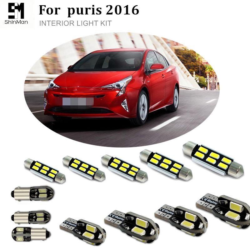Shinman 8pcs 오류 무료 자동 LED 전구 자동차 인테리어 조명 키트 독서 트럭 램프 Toyota Prius 2016 액세서리