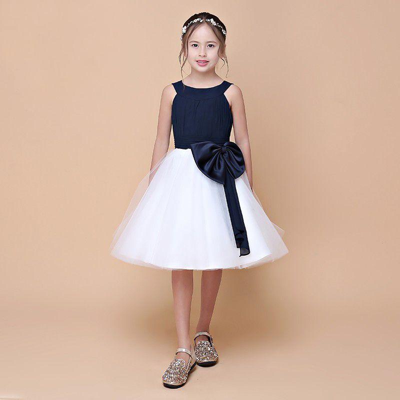 2018 Spring New Arrival Double Straps Pretty Girl's Flower Dresses With Sash Navy Top White Skirt Little Princess Dress Eren Jossie Brand