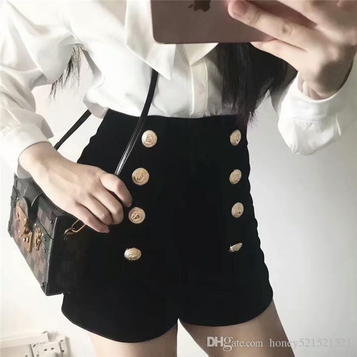 Novo design de moda das mulheres sexy de cintura alta de veludo botões de cor de ouro double breasted shorts boot cut calças curtas SMLXL