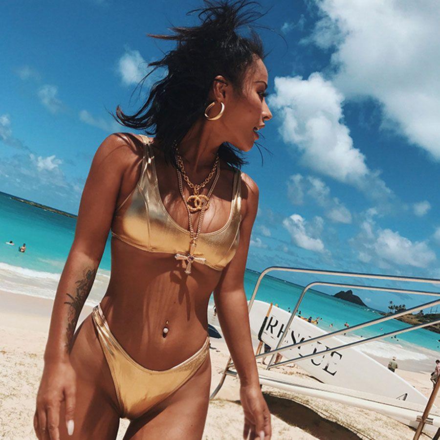 Sexy Silver Gold Micro Bikini Set Kobiety Brazylijski Push Up Thong Swimwear Bling Bling Bikini Golden Swimsuit Kostium Kąpielowy Biquini