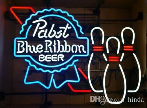 32 * 24 pulgadas Pabst Blue Ribbon Bowling DIY Glass Neon Sign Flex Cuerda Neon Light Interior / Exterior Decoración RGB Voltaje 110V-240V