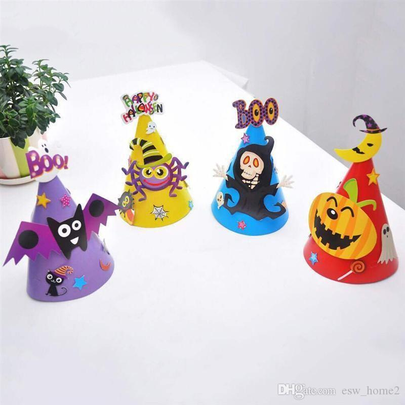 Kids Halloween Party Hat Pumpkin Witch Happy Halloween Caps for Children Halloween Party Costume Cosplay Dress Up Decorations