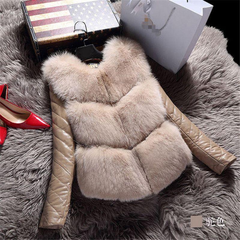Wholesale- 2017 New Winter Fashion Women's Luxurious Faux Fur Coat Slim Fit Faux Sheep Skin Leather Outerwear Detachable Parkas A1399