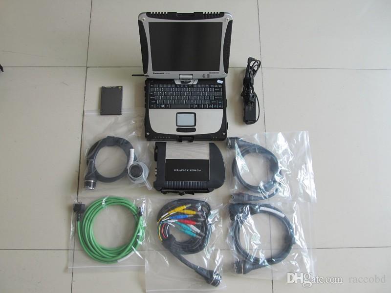 MB STAR C4 SD Conecte la herramienta de diagnóstico con SSD instalado en la computadora portátil de la pantalla táctil CF-19 lista para usar para camiones de automóviles