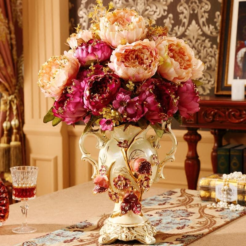 Luxury European Ceramic Vase Wedding Gift Decoration Ornament Livingroom Fake Flower Pot Figurines Retro Desktop Flower Arranger