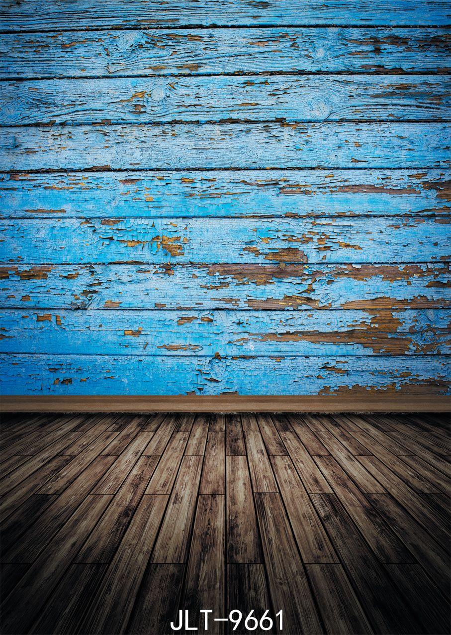 Winylowa tkanina 3d fotografii backdrops drewniana podłoga błękitna stara drewniana ściana tło Dostosuj dla fotofonu fotograficznego